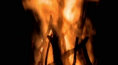 Wood pyre burning in the night Stock Footage