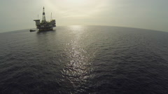 Oil Drilling Rig Offshore California Stock Footage