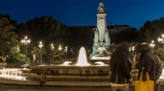 North-eastern side of the Cervantes monument timelapse on the Square of Spain in - stock footage