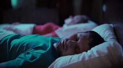 Snoring man. Couple in bed Stock Footage