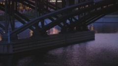 Berlin Bridge Over Water At Blue Hour - stock footage