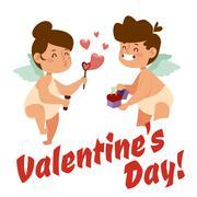 Valentine Day cupid angels cartoon style vector illustration - stock illustration