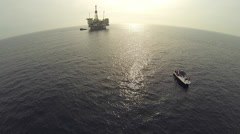 AERIAL: Offshore Oil Rig California Stock Footage