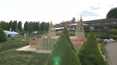 Towers and red roof of Santiago de Compostela at the Mini-Europe, Brussels Stock Footage