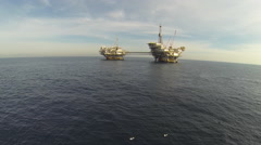 Offshore Oil Rigs California Aerial Stock Footage