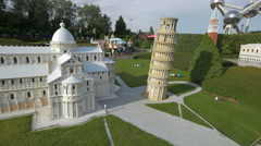 Scale models from Pisa displayed at Mini-Europe, Brussels Stock Footage