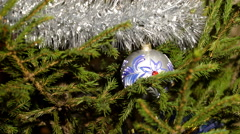 An ornated christmas tree with decorations Stock Footage