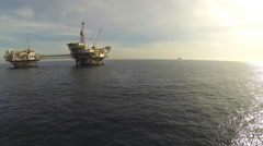 Oil Rigs Offshore California Aerial Stock Footage
