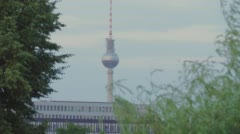 Berlin TV Tower. Summer City Landscape With Trees, Cloudy Sky Stock Footage
