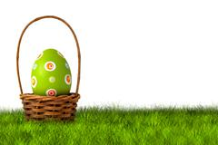 Basket for Easter Egg hunt - stock photo