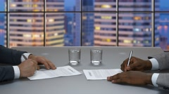 Business meeting in office of the skyscraper. Stock Footage
