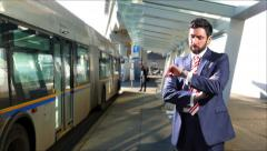4K Bored Impatient Man in Business Suit Waiting at Bus Station - stock footage