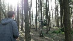 Control drone quadrocopter in the woods among the trees Arkistovideo