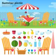 Summer Picnic and Icons of Foods Stock Illustration