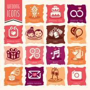 Wedding icon set. - stock illustration