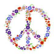 Peace flowers - stock illustration