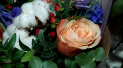Close up review multicolored colorful bouquet of beautiful flowers. Stock Footage