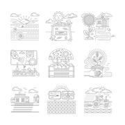 Agricultural farm vector icons set flat line style Stock Illustration