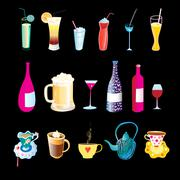 Beverages in bottles Stock Illustration