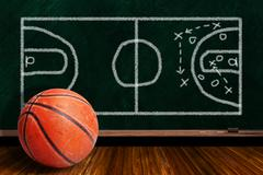Game Concept With Basketball and Chalk Board Play Strategy Stock Photos