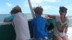 Family on Boat Ride In The Florida Keys Stock Footage