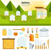 Apiary in the garden - stock illustration