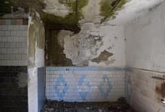 The walls of an old abandoned building - stock photo