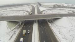 Aerial view of the circular motorway junction Stock Footage