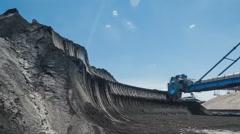 Bucket-wheel excavator at coal loading (time-lapse) Stock Footage