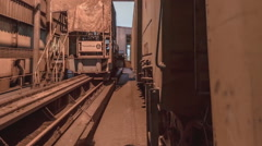 Mechanism for tipping wagons time-lapse (GoPro) Stock Footage