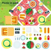 Summer Picnic in Park Banner and Icons - stock illustration