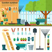 Summer Gardening Landscape in Cartoon Style - stock illustration