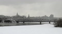 Canadian Parliament in a winter snow storm Stock Footage