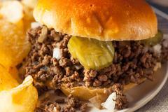 Homemade Loose Meat Tavern Sandwich - stock photo