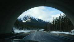 Rocky mountain tunnels. Wildlife overpass in Alberta, Canada. Stock Footage