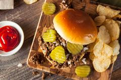 Homemade Loose Meat Tavern Sandwich Stock Photos