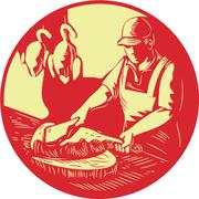 Chinese Cook Chop Meat Oval Circle Woodcut. - stock illustration