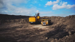 Stock Video Footage of big cars in the coal mine (time-lapse)