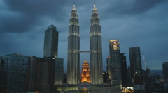View of the Petronas Twin Towers in Malaysia (time-lapse) Stock Footage