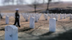 Family Visiting Grave of Fallen Solider - stock footage