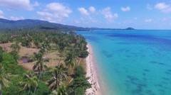 View of nice tropical beach with some palms around ,Samui,Thailand - stock footage