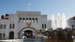 Bab Al- Bahrain Souk Gate, closer framing to the fountain. Stock Footage