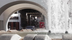 Bab Al- Bahrain Souk Gate. Fountain in the foreground. Stock Footage