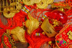 Chinese New Year decoration on wood wall - stock photo