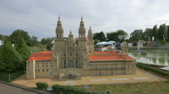 Cathedral of Santiago de Compostela from Spain at the Mini-Europe, Brussels Stock Footage