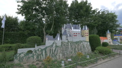 Eltz Castle from Germany displayed at the Mini-Europe, Brussels Stock Footage
