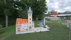 Stock Video Footage of Astronomical Clock of Prague and other buildings at the Mini-Europe, Brussels
