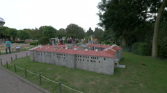 Fortress displayed at the Mini-Europe, Brussels Stock Footage