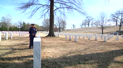 Family Visiting Grave of Fallen Solider Stock Footage