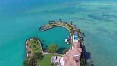 Aerial 4K Luxury Waterfront Homes in Key Biscayne, Florida Stock Footage